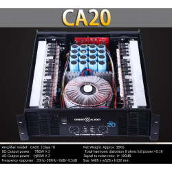 CA20 Professional Power Amplifier Pure Power Amplifier 2channels (3U) KTV/Stage/Home Entertainment KTV 8ohm 750W*2/4ohm 1500W*2