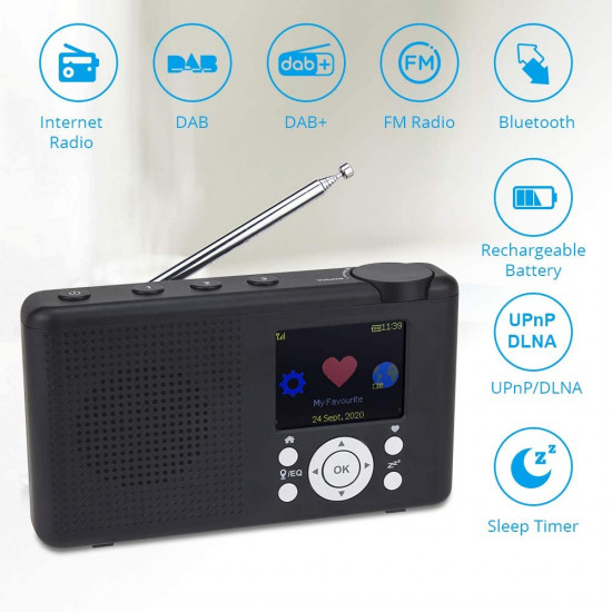 "Ocean Digital WR-23D Portable Internet Radio 2.4"" Color LCD Rechargeable Battery Wi-Fi Bluetooth UPnP & DLNA Player Alarm Clock"