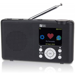 """Ocean Digital WR-23D Portable Internet Radio 2.4"""" Color LCD Rechargeable Battery Wi-Fi Bluetooth UPnP & DLNA Player Alarm Clock"""